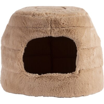 Pet 2-in-1 Honeycomb Hut Cuddler in Fur Color: Wheat