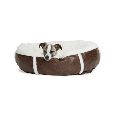 Round Bumper Faux Leather Dog Bed Size: Medium (24 L x 24 W)