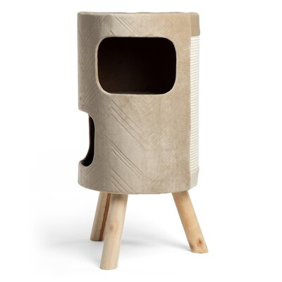 28 Modern Kitty Satellite Hiro Cat Tower/ Tree with scratching surface Color: Wheat