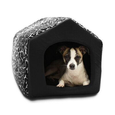 "Pet Furniture 2-in-1 Dog House Sofa Size: Medium (16"" L x 15"" W), Color: Black Leopard Print"