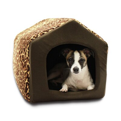 "Pet Furniture 2-in-1 Dog House Sofa Size: Large (18"" L x 16"" W), Color: Brown Leopard Print"