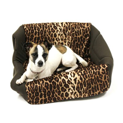 "Pet Furniture 2-in-1 Dog House Sofa Size: Medium (16"" L x 15"" W), Color: Brown Leopard Print"