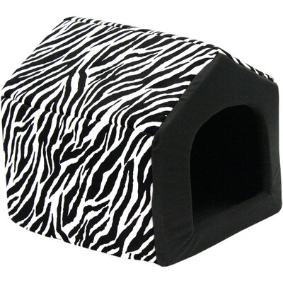"Pet Furniture 2-in-1 Dog House Sofa Size: Medium (16"" L x 15"" W), Color: Black Zebra Print"