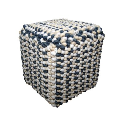 Soft Wool Pouf WILLA in Off-White, Sand and Charcoal Pattern