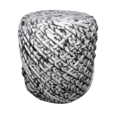 Round Wool Pouf WONDER in Black & White Zebra Pattern