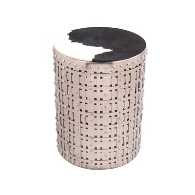 Cowgirl Round Accent Table with Cow Hide Fitted Top