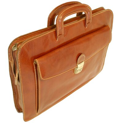 Milano Sleeve Leather Laptop Briefcase 1005Brown
