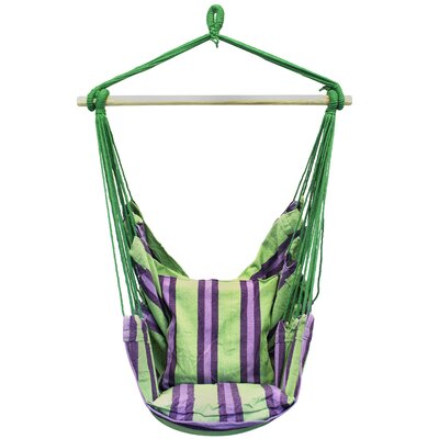 Cotton and Polyester Chair Hammock Color: Green Stripe