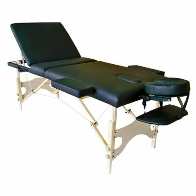 3 Fold Reiki Portable Massage Table and Carrying Case Color: Black