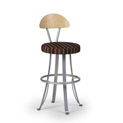 Createch Felix Swivel Bar Stool with Cushion - Base Finish: Brazo Upholstery: Impulse 608 Wood Finish: Cacao