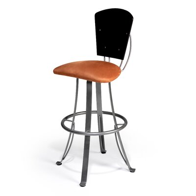 Kim 30 Swivel Bar Stool Upholstery: Impulse 97, Base Finish: Aluminium