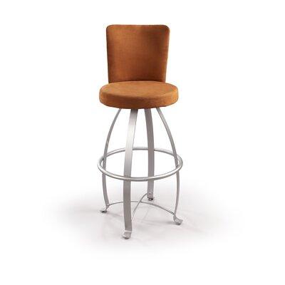"Createch Eva 30"" Swivel Bar Stool with Cushion - Upholstery : Impulse 202, Metal Finish: Textured Black at Sears.com"