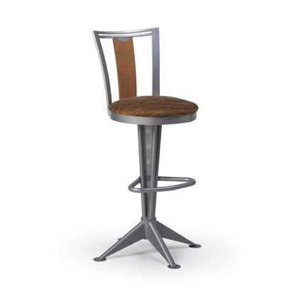 Createch Doz Swivel Bar Stool with Cushion - Base Finish: Ferrum Upholstery: Impulse 6003 Wood Finish: Mahogany