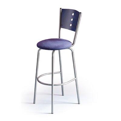 Createch Earl Swivel Bar Stool with Cushion - Base Finish: Ferrum Upholstery: Impulse 1006 Wood Finish: Honey