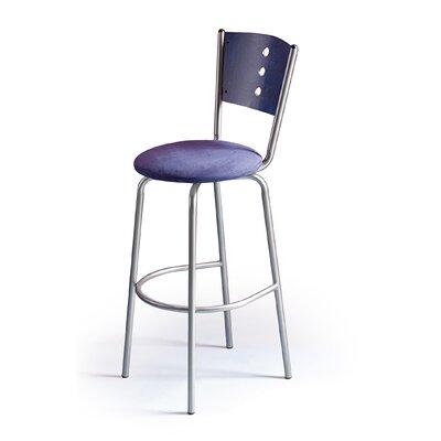 "Createch Earl 30"" Swivel Bar Stool with Cushion - Upholstery: Impulse 1006, Base Finish: Textured Black, Wood Finish: Honey Brown"