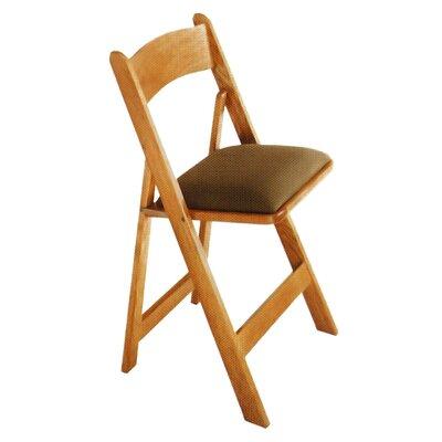 "Kestell Furniture Oak Folding Chair - Seat Thickness: 1.5 "", Wood Finish: Fruitwood/Walnut, Upholstery: Burgundy Felt"