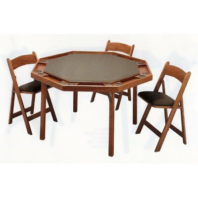 """Kestell Furniture 57"""" Contemporary Folding Poker Table - Upholstery: Red Vinyl, Finish: Fruitwood/Walnut at Sears.com"""