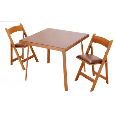 "Kestell Furniture 35"" Oak Folding Card Table - Upholstery: Red Vinyl, Finish: Fruitwood/Walnut at Sears.com"