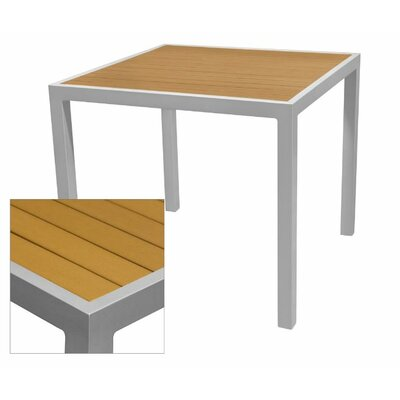 Nevada Dining Table Table Size: 33.5 L x 33.5 W, Top Finish: Teak, Base Finish: White