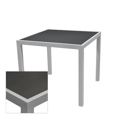 Corsa Bar Table Table Size: 24 L x 24 W, Frame Finish: Black, Top Finish: Gunmetal Silver
