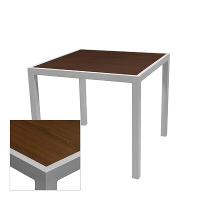Corsa Bar Table Table Size: 24 L x 24 W, Frame Finish: Silver, Top Finish: Wenge