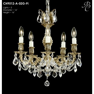 Rosetta 5-Light Crystal Chandelier Crystal: Precision Crystal French Pendaloque Clear, Finish: Polished Brass with Black Inlay