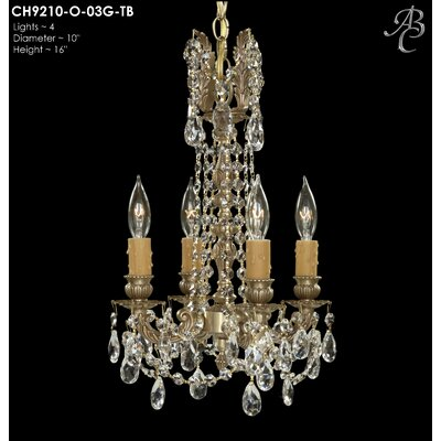 Biella 4-Light Crystal Chandelier Crystal: Precision Crystal French Pendaloque Clear, Finish: Polished Brass with Black Inlay
