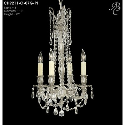 Biella 4-Light Crystal Chandelier Crystal: Precision Crystal French Pendaloque Clear, Finish: Antique Silver
