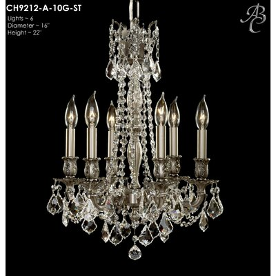Biella 6-Light Crystal Chandelier Crystal: Precision Crystal Oval Clear, Finish: Polished Brass with Umber Inlay