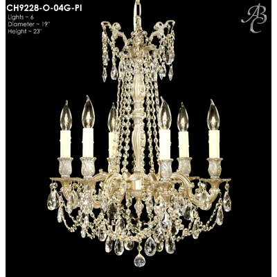 Biella 6-Light Crystal Chandelier Finish: Polished Brass with Black Inlay, Crystal: Precision Crystal French Pendaloque Clear
