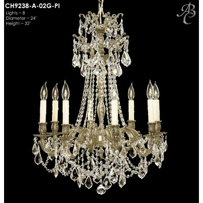 Biella 8-Light Crystal Chandelier Crystal: Precision Crystal French Pendaloque Clear, Finish: Polished Brass with Black Inlay