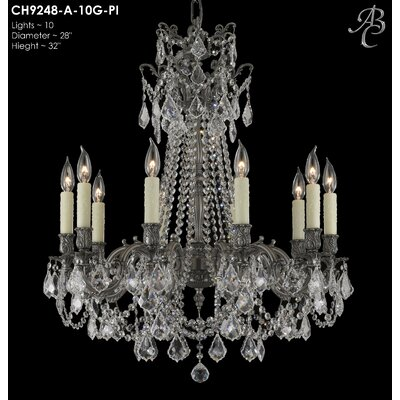 Biella 10-Light Crystal Chandelier Crystal: Precision Crystal French Pendaloque Clear, Finish: Antique Silver