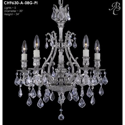Chateau 5-Light Crystal Chandelier Crystal: Precision Crystal French Pendaloque Clear, Finish: Polished Brass with Black Inlay