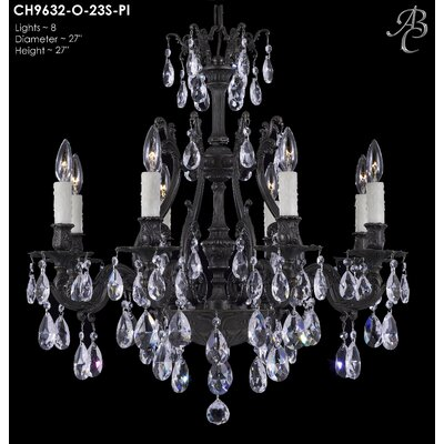 Chateau 8-Light Crystal Chandelier Crystal: Precision Crystal French Pendaloque Clear, Finish: Antique Silver