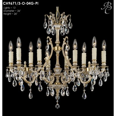 Chateau 12-Light Crystal Chandelier Crystal: Precision Crystal French Pendaloque Clear, Finish: Polished Brass with Umber Inlay