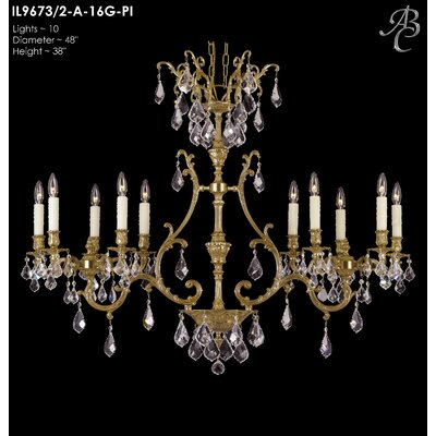 Chateau 10-Light Crystal Chandelier Crystal: Precision Crystal French Pendaloque Clear, Finish: Satin Nickel