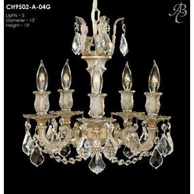 Rosetta 5-Light Crystal Chandelier Crystal: Precision Crystal French Pendaloque Clear, Finish: Polished Brass with Umber Inlay