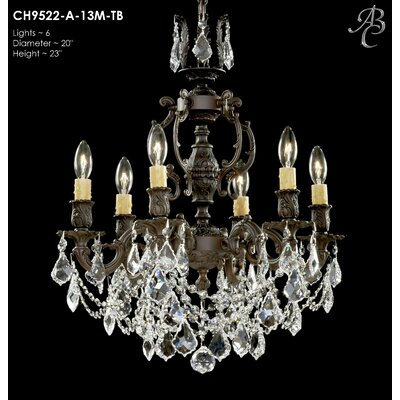 Rosetta 6-Light Crystal Chandelier Crystal: Precision Crystal French Pendaloque Clear, Finish: Polished Brass with Black Inlay