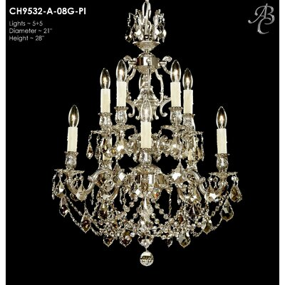 Rosetta 10-Light Crystal Chandelier Crystal: Precision Crystal French Pendaloque Clear, Finish: Polished Brass with Black Inlay