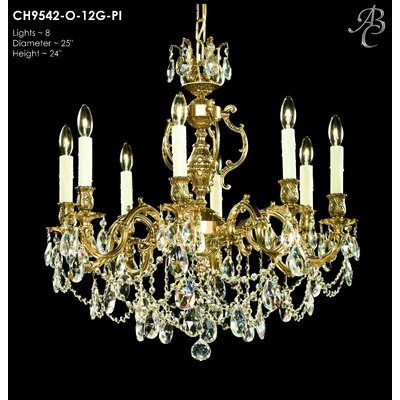 Rosetta 8-Light Crystal Chandelier Crystal: Precision Crystal French Pendaloque Clear, Finish: True Brass