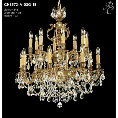 Rosetta 16-Light Crystal Chandelier Crystal: Precision Crystal French Pendaloque Clear, Finish: True Brass