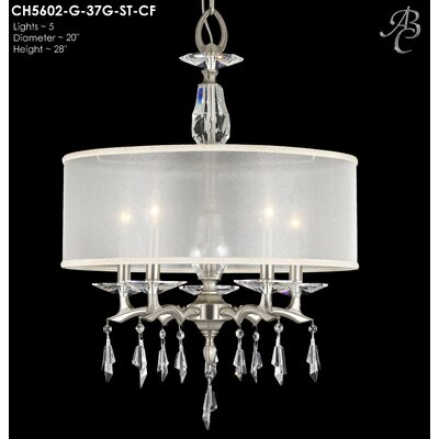 Kaya 5-Light Drum Chandelier Finish: Polished Brass, Shade Color: White Hardback