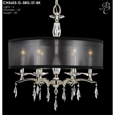 Kaya 6-Light Drum Chandelier Finish: Polished Brass, Shade Color: Black Hardback