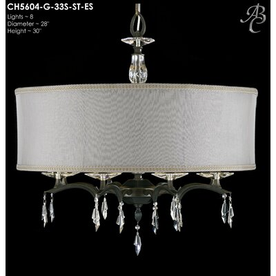 Kaya 8-Light Drum Chandelier Shade Color: Crystal Frost Hardback, Finish: Old Brass