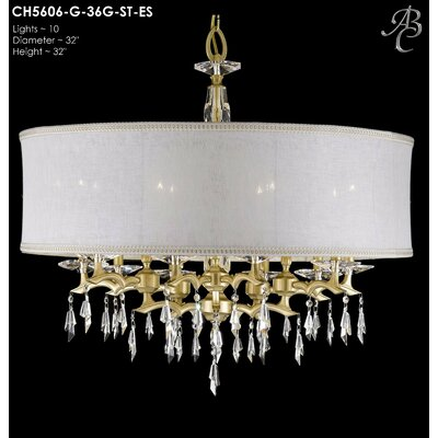 Kaya 10-Light Drum Chandelier Shade Color: Sate Softback, Finish: Polished Brass