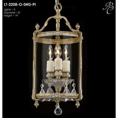 Lantern 3-Light Foyer Pendant Crystal: Precision Crystal Oval Clear, Finish: French Gold Glossy