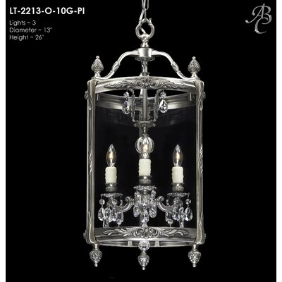 Lantern 3-Light Light Foyer Pendant Crystal: Precision Crystal French Pendaloque Clear, Finish: Polished Brass with Black Inlay