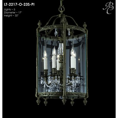 Lantern 5-Light Foyer Pendant Crystal: Precision Crystal French Pendaloque Clear, Finish: Polished Brass with Black Inlay