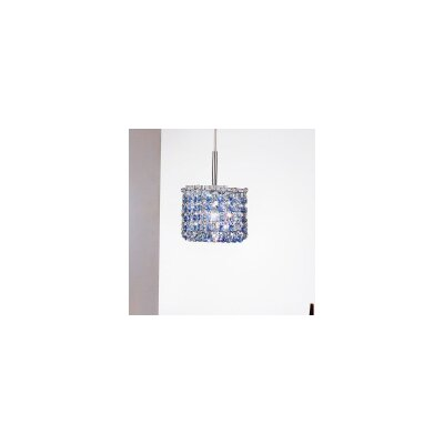Aurea 1-Light Mini Pendant Finish: Chrome, Crystal Type: Glass, Crystal Color: Saphire