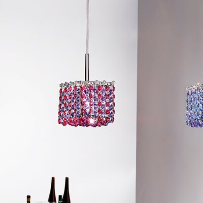 Aurea 1-Light Mini Pendant Finish: Chrome, Crystal Type: Glass, Crystal Color: Red